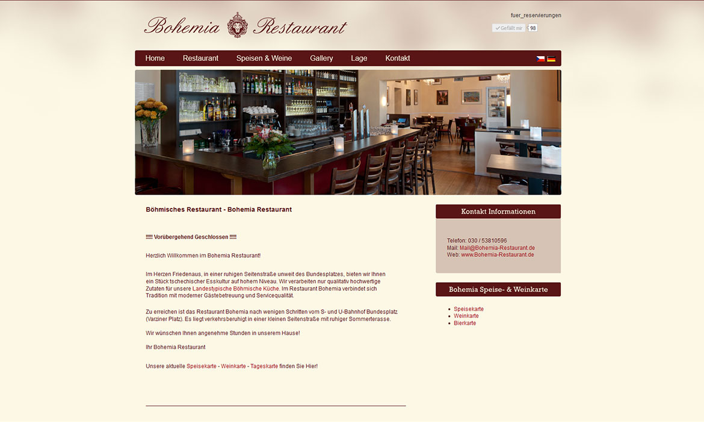 Website eines böhmischen Restaurants aus Berlin